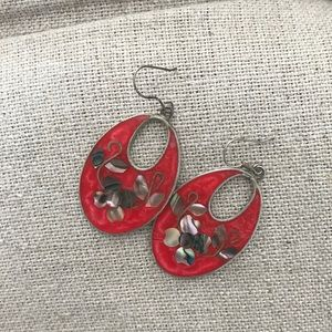 Jewelry - Mexican coral enamel laid floral silver earrings